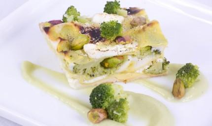 Lasagnetta con broccoli ricotta di capra e pistacchi