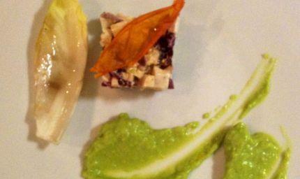 Tartara di tofu e radicchio rosso con crema di avocado